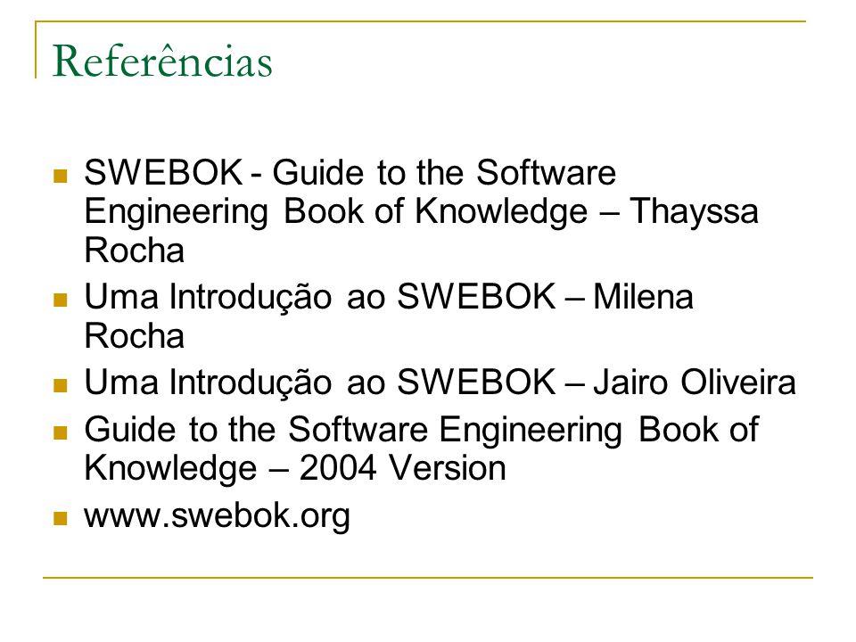 Referências SWEBOK - Guide to the Software Engineering Book of Knowledge – Thayssa Rocha Uma Introdução ao SWEBOK – Milena Rocha Uma Introdução ao SWE