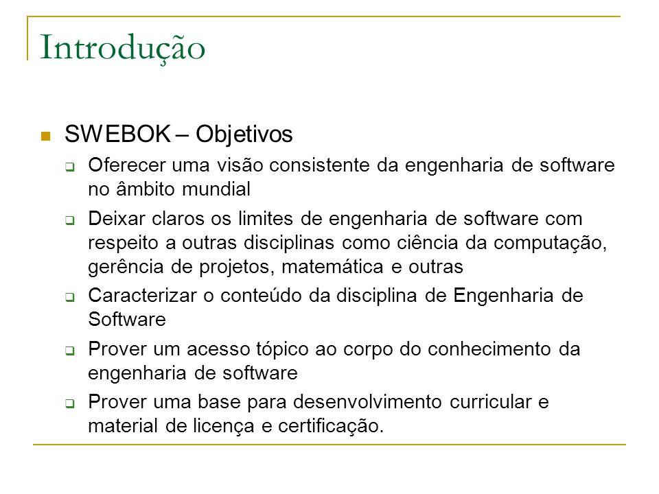 Introdução SWEBOK – Objetivos  Oferecer uma visão consistente da engenharia de software no âmbito mundial  Deixar claros os limites de engenharia de