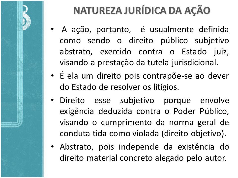 NATUREZA JURÍDICA DA AÇÃO A ação, portanto, é usualmente definida como sendo o direito público subjetivo abstrato, exercido contra o Estado juiz, visa