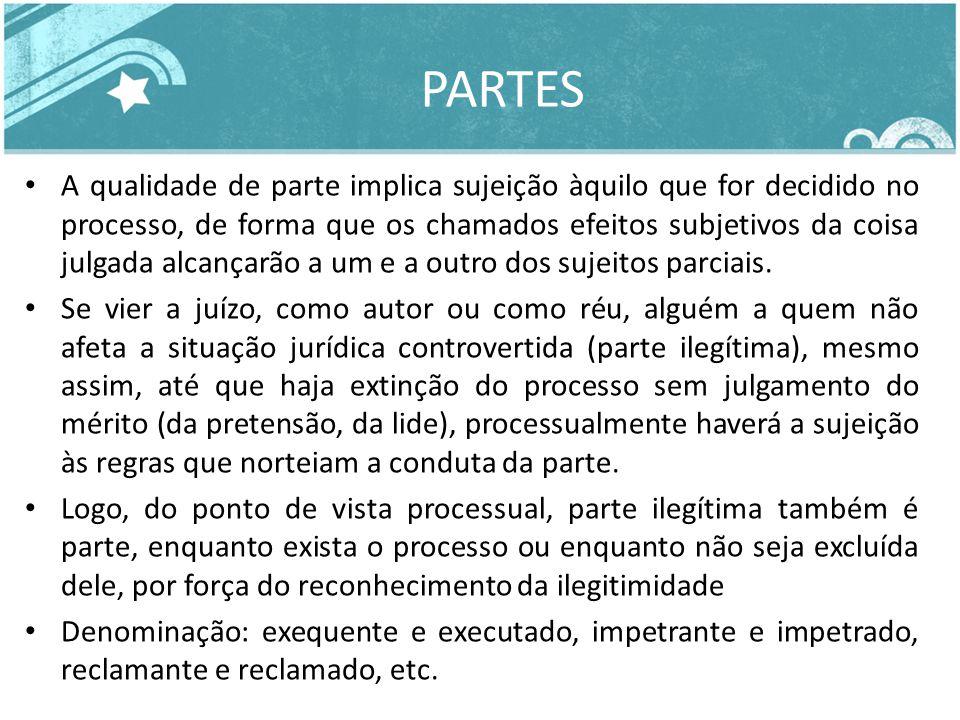 PARTES A qualidade de parte implica sujeição àquilo que for decidido no processo, de forma que os chamados efeitos subjetivos da coisa julgada alcança