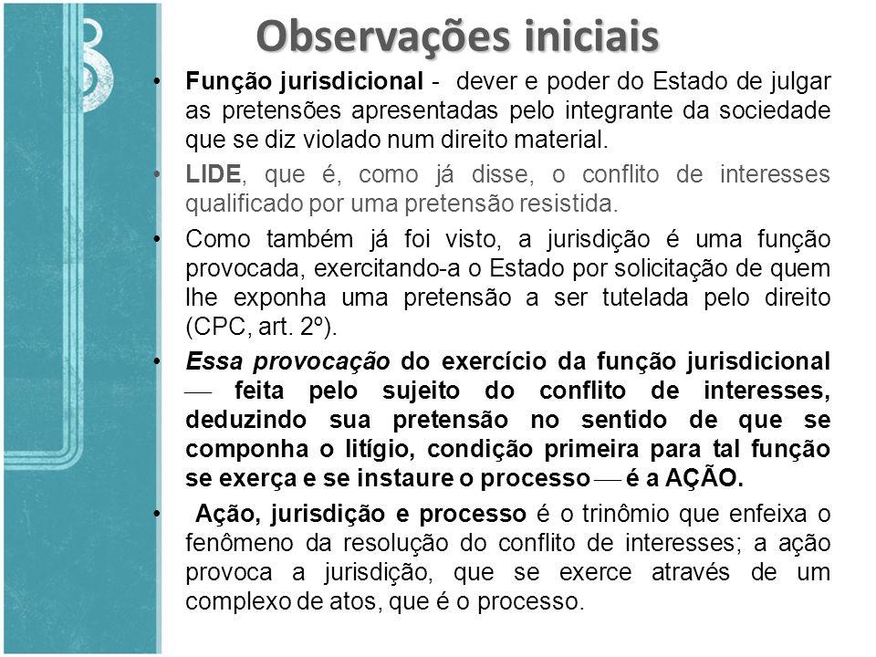 Observações iniciais Função jurisdicional - dever e poder do Estado de julgar as pretensões apresentadas pelo integrante da sociedade que se diz viola
