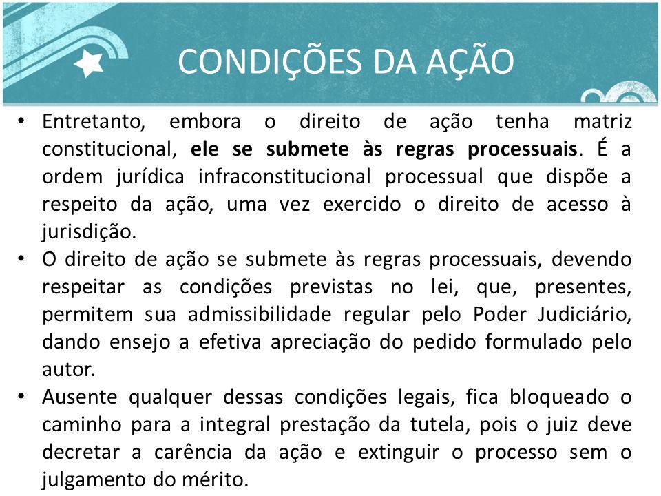 CONDIÇÕES DA AÇÃO Entretanto, embora o direito de ação tenha matriz constitucional, ele se submete às regras processuais. É a ordem jurídica infracons