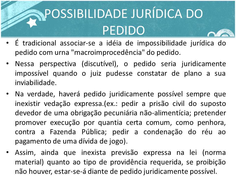 POSSIBILIDADE JURÍDICA DO PEDIDO É tradicional associar-se a idéia de impossibilidade jurídica do pedido com urna