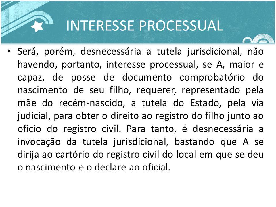 INTERESSE PROCESSUAL Será, porém, desnecessária a tutela jurisdicional, não havendo, portanto, interesse processual, se A, maior e capaz, de posse de