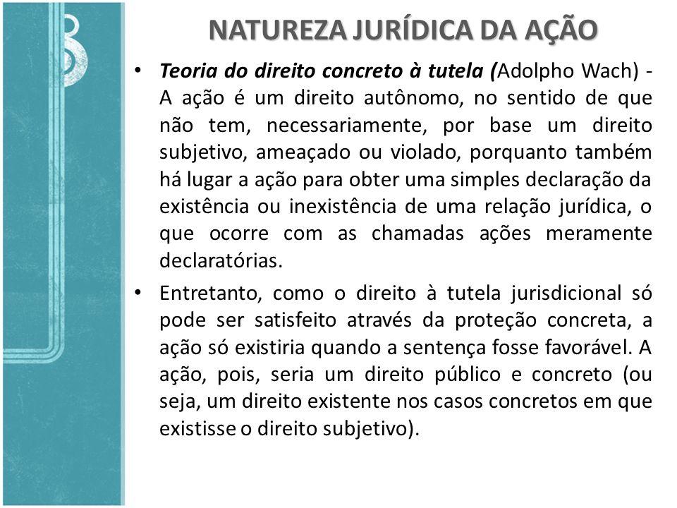 NATUREZA JURÍDICA DA AÇÃO Teoria do direito concreto à tutela (Adolpho Wach) - A ação é um direito autônomo, no sentido de que não tem, necessariament