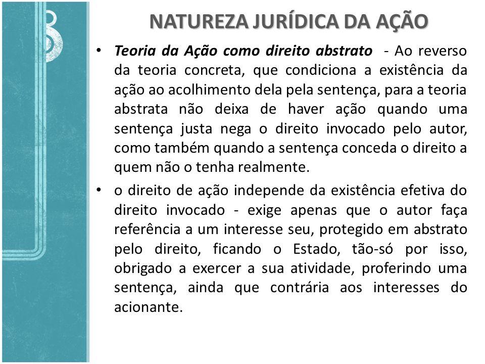 NATUREZA JURÍDICA DA AÇÃO Teoria da Ação como direito abstrato - Ao reverso da teoria concreta, que condiciona a existência da ação ao acolhimento del