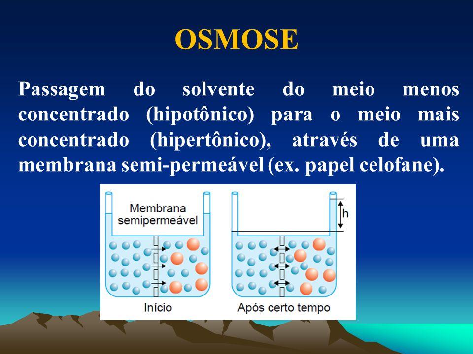 OSMOSE Passagem do solvente do meio menos concentrado (hipotônico) para o meio mais concentrado (hipertônico), através de uma membrana semi-permeável