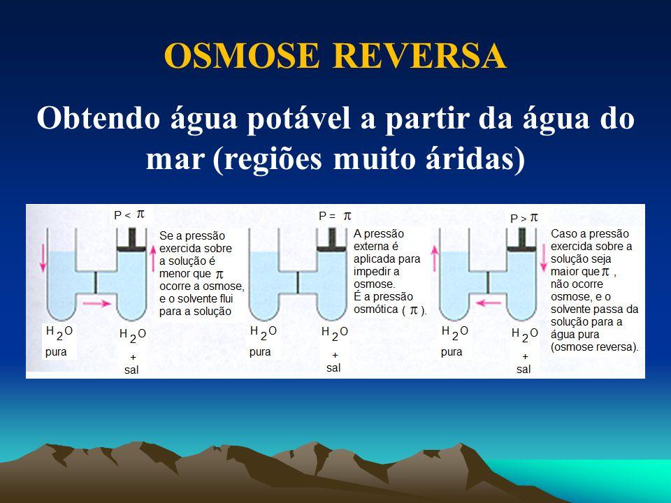 OSMOSE REVERSA Obtendo água potável a partir da água do mar (regiões muito áridas)