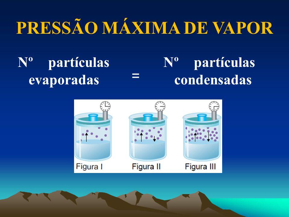 Nº partículas evaporadas PRESSÃO MÁXIMA DE VAPOR Nº partículas condensadas =