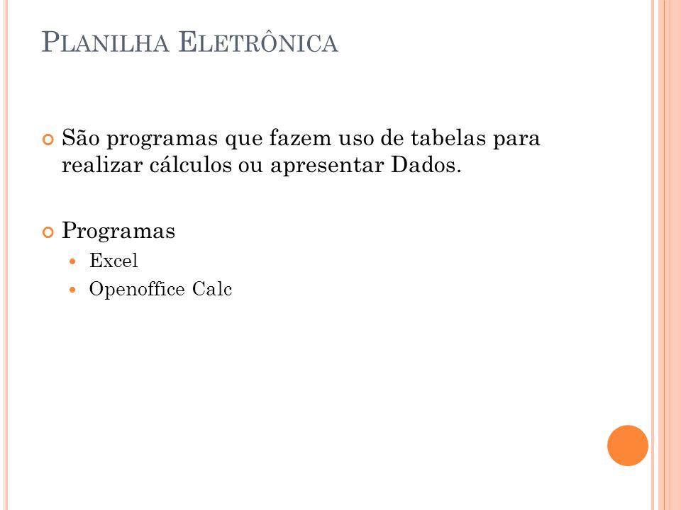 P LANILHA E LETRÔNICA São programas que fazem uso de tabelas para realizar cálculos ou apresentar Dados. Programas Excel Openoffice Calc