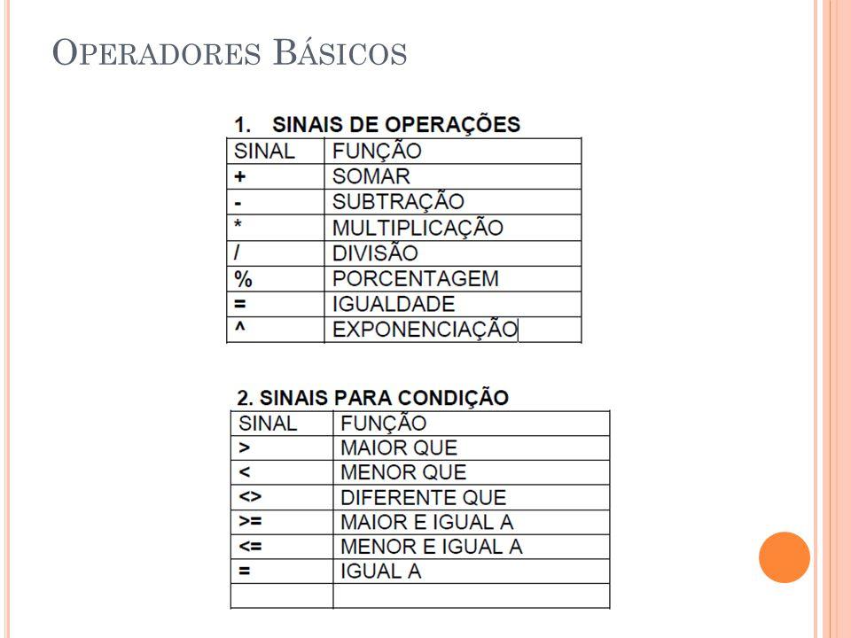 T IPOS DE D ADOS Número São números em um modo geral Moeda São números com o símbolo da moeda escolhida ex.: R$, $, etc.