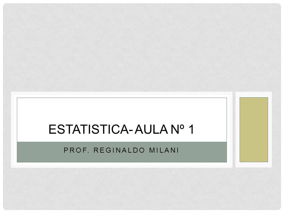 PROF. REGINALDO MILANI ESTATISTICA- AULA Nº 1