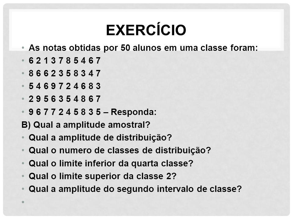EXERCÍCIO As notas obtidas por 50 alunos em uma classe foram: 6 2 1 3 7 8 5 4 6 7 8 6 6 2 3 5 8 3 4 7 5 4 6 9 7 2 4 6 8 3 2 9 5 6 3 5 4 8 6 7 9 6 7 7