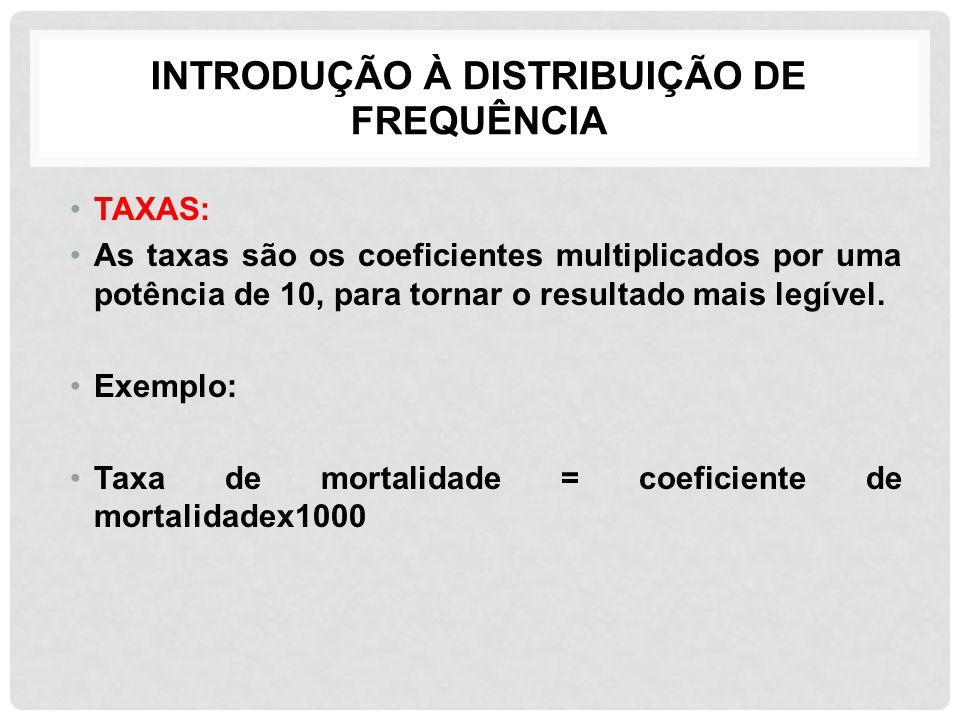 INTRODUÇÃO À DISTRIBUIÇÃO DE FREQUÊNCIA TAXAS: As taxas são os coeficientes multiplicados por uma potência de 10, para tornar o resultado mais legível