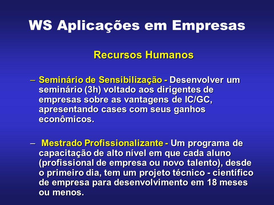 WS Aplicações em Empresas Recursos Humanos –Seminário de Sensibilização - Desenvolver um seminário (3h) voltado aos dirigentes de empresas sobre as va