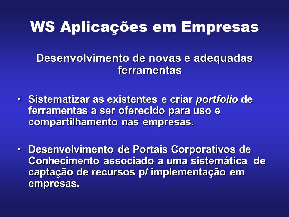 WS Aplicações em Empresas Desenvolvimento de novas e adequadas ferramentas Sistematizar as existentes e criar portfolio de ferramentas a ser oferecido