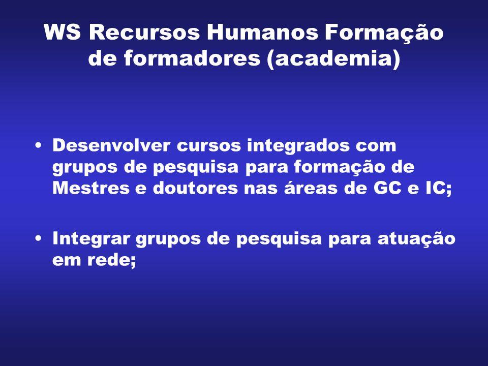 WS Recursos Humanos Formação de formadores (academia) Incentivar e desenvolver publicações especializadas em GC e IC na academia; Aumentar intercâmbio universidade- empresa; e Incentivar parcerias internacionais.