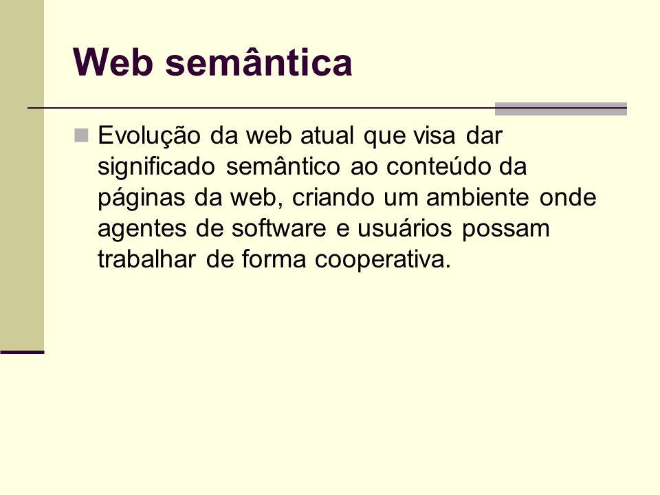 Web semântica Evolução da web atual que visa dar significado semântico ao conteúdo da páginas da web, criando um ambiente onde agentes de software e usuários possam trabalhar de forma cooperativa.