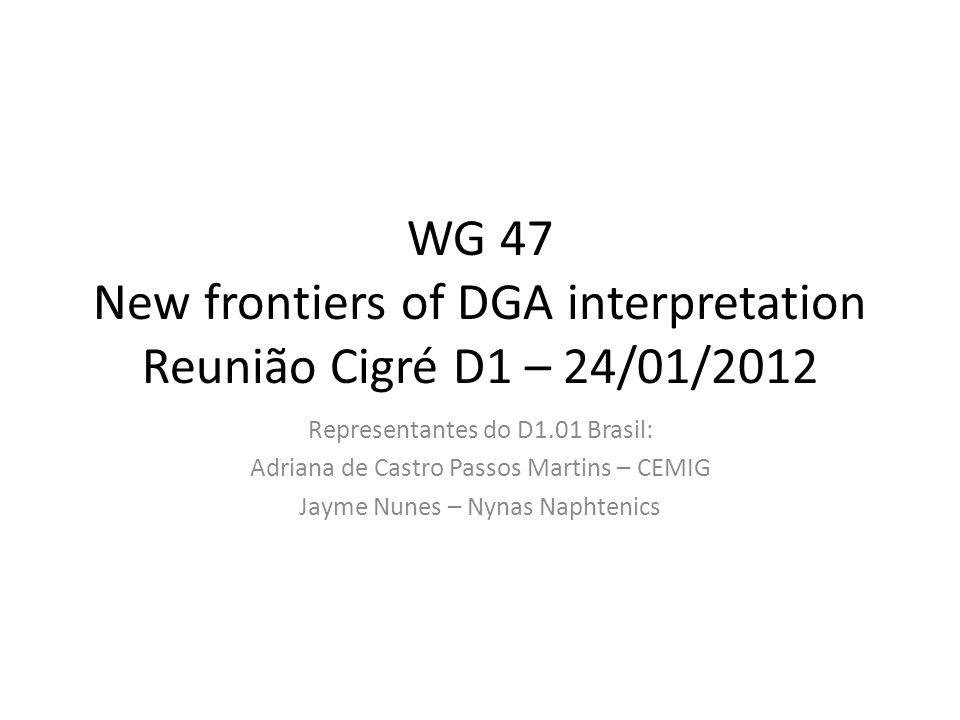 WG 47 New frontiers of DGA interpretation Reunião Cigré D1 – 24/01/2012 Representantes do D1.01 Brasil: Adriana de Castro Passos Martins – CEMIG Jayme