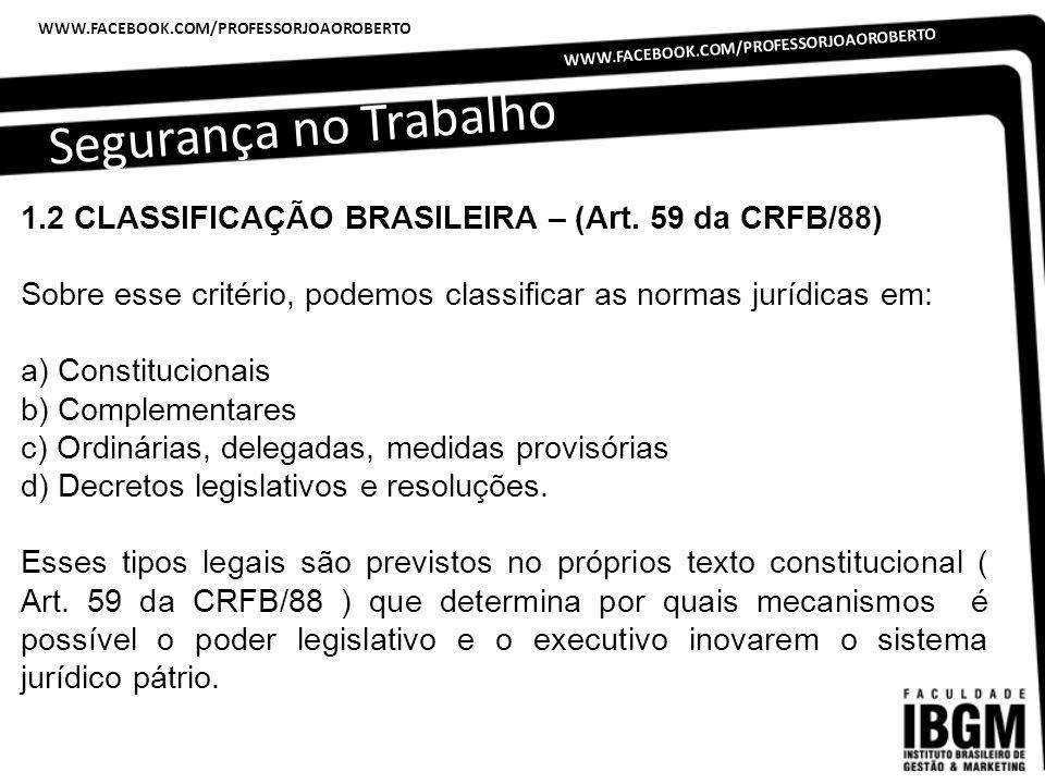 Segurança no Trabalho WWW.FACEBOOK.COM/PROFESSORJOAOROBERTO 1.2 CLASSIFICAÇÃO BRASILEIRA – (Art. 59 da CRFB/88) Sobre esse critério, podemos classific