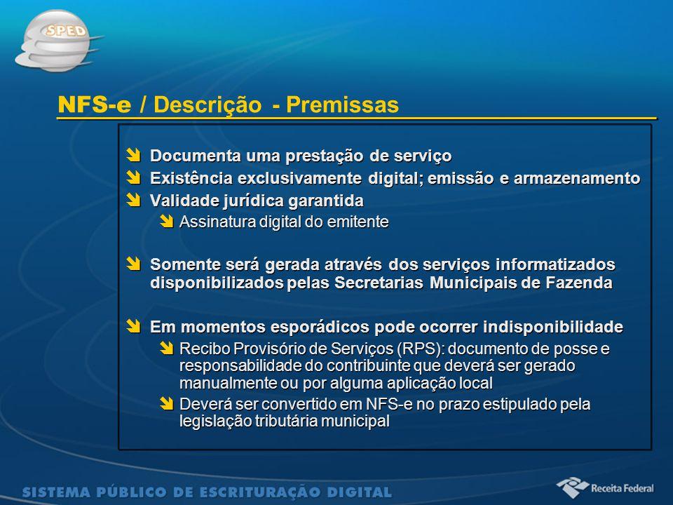 Sistema Público de Escrituração Digital  Documenta uma prestação de serviço  Existência exclusivamente digital; emissão e armazenamento  Validade j