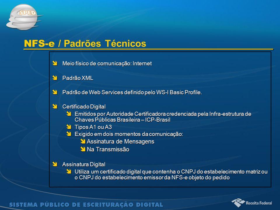 Sistema Público de Escrituração Digital  Meio físico de comunicação: Internet  Padrão XML  Padrão de Web Services definido pelo WS-I Basic Profile.