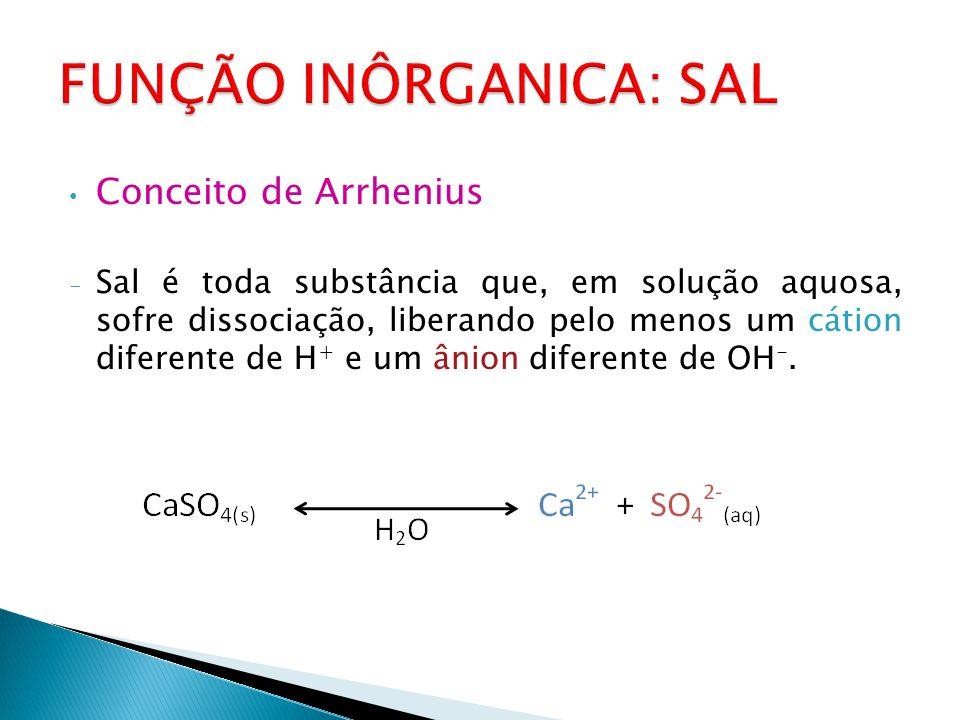 Conceito de Arrhenius - Sal é toda substância que, em solução aquosa, sofre dissociação, liberando pelo menos um cátion diferente de H + e um ânion diferente de OH -.