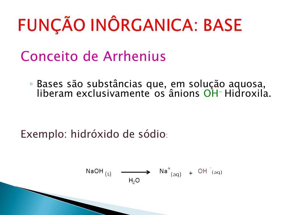 Conceito de Arrhenius ◦ Bases são substâncias que, em solução aquosa, liberam exclusivamente os ânions OH - Hidroxila.