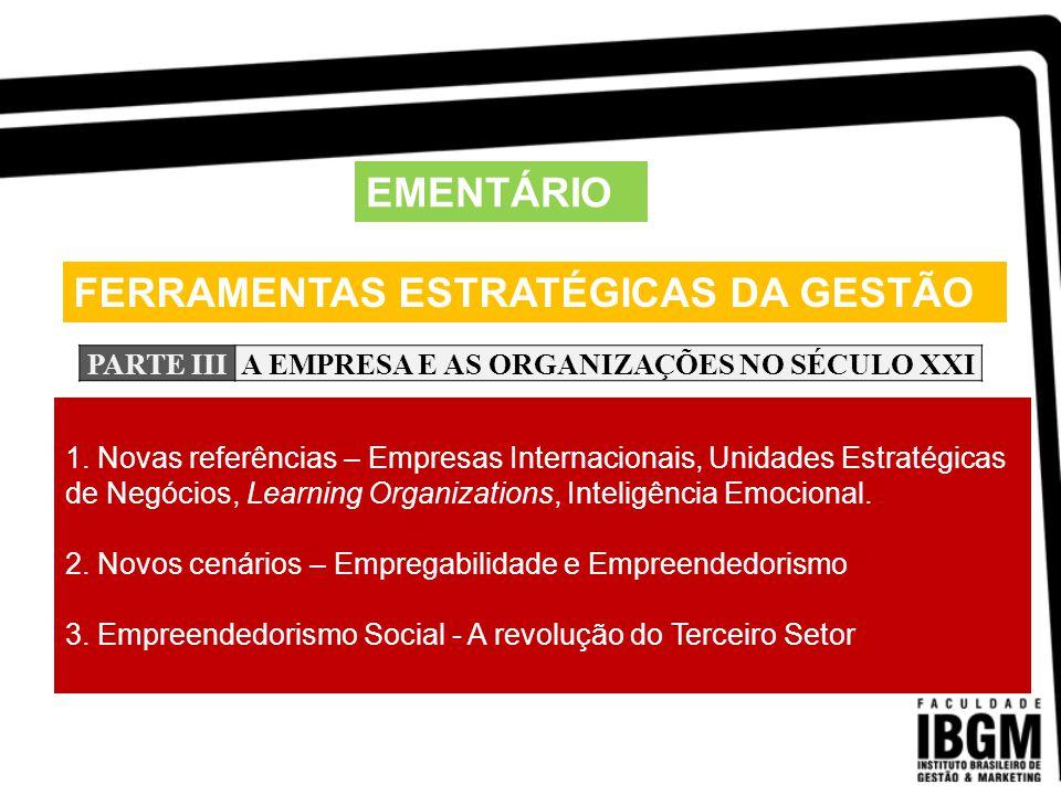 FERRAMENTAS ESTRATÉGICAS DA GESTÃO EMENTÁRIO PARTE IVAS FUNÇÕES ADMINISTRATIVAS 1.
