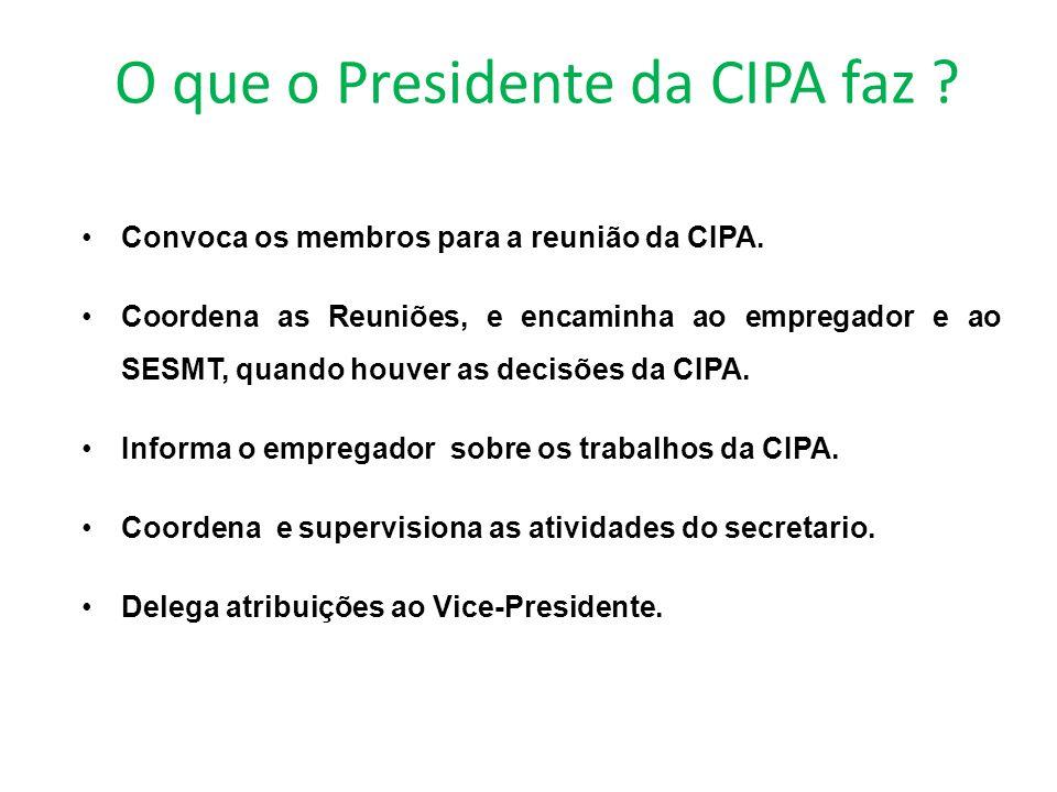O que o Presidente da CIPA faz .Convoca os membros para a reunião da CIPA.