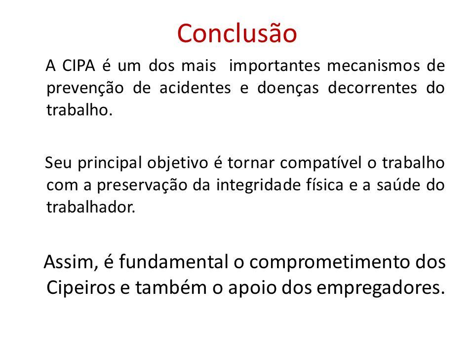 Conclusão A CIPA é um dos mais importantes mecanismos de prevenção de acidentes e doenças decorrentes do trabalho.