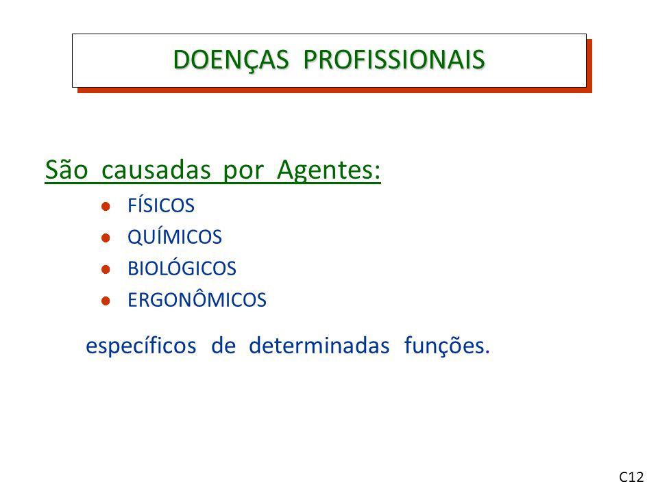 DOENÇAS PROFISSIONAIS São causadas por Agentes: FÍSICOS QUÍMICOS BIOLÓGICOS ERGONÔMICOS específicos de determinadas funções.