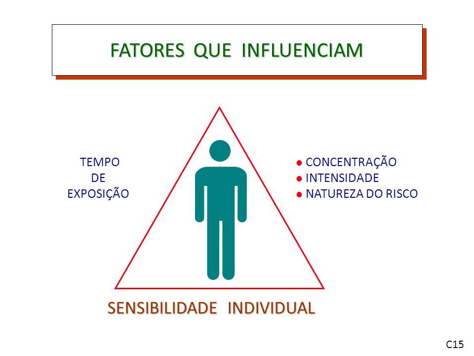 FATORES QUE INFLUENCIAM TEMPO DE EXPOSIÇÃO SENSIBILIDADE INDIVIDUAL CONCENTRAÇÃO INTENSIDADE NATUREZA DO RISCO C15