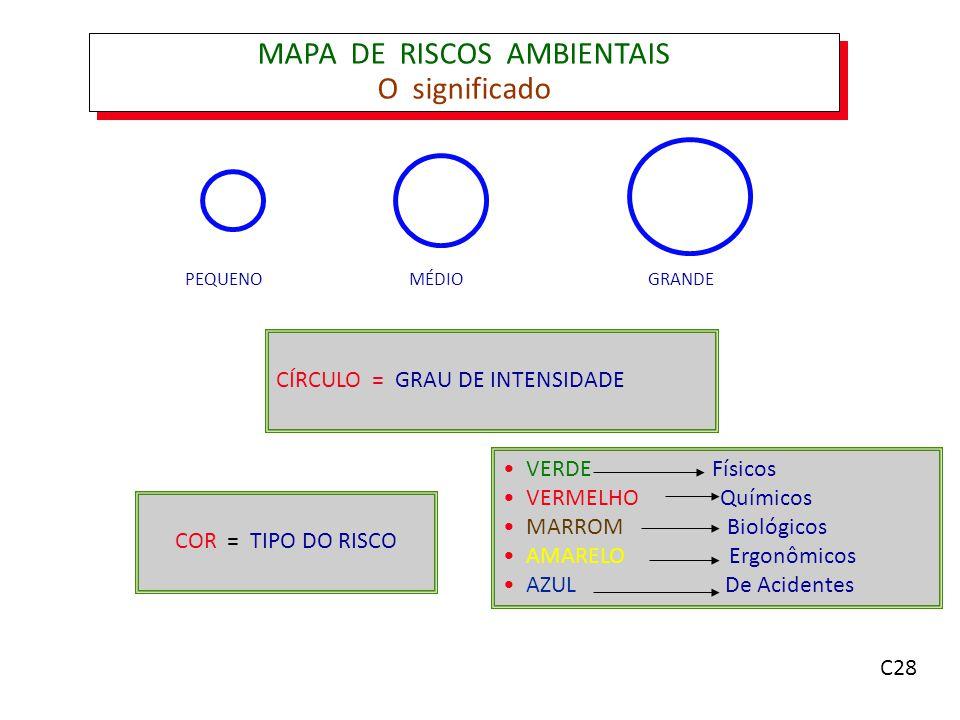 MAPA DE RISCOS AMBIENTAIS O significado PEQUENOMÉDIOGRANDE CÍRCULO = GRAU DE INTENSIDADE COR = TIPO DO RISCO VERDE Físicos VERMELHO Químicos MARROM Biológicos AMARELO Ergonômicos AZUL De Acidentes C28