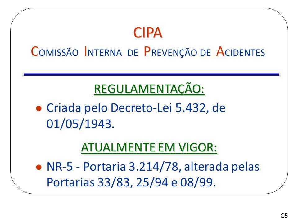 CIPA – NR 5 Comissão Interna de Prevenção de Acidentes Formada pelos próprios trabalhadores, com o objetivo de prevenir acidentes e doenças decorrentes do trabalho.