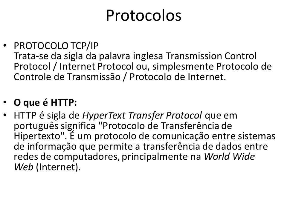 Protocolos PROTOCOLO TCP/IP Trata-se da sigla da palavra inglesa Transmission Control Protocol / Internet Protocol ou, simplesmente Protocolo de Contr