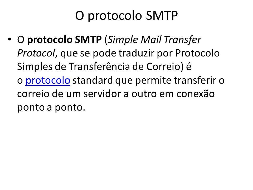 O protocolo SMTP O protocolo SMTP (Simple Mail Transfer Protocol, que se pode traduzir por Protocolo Simples de Transferência de Correio) é o protocol