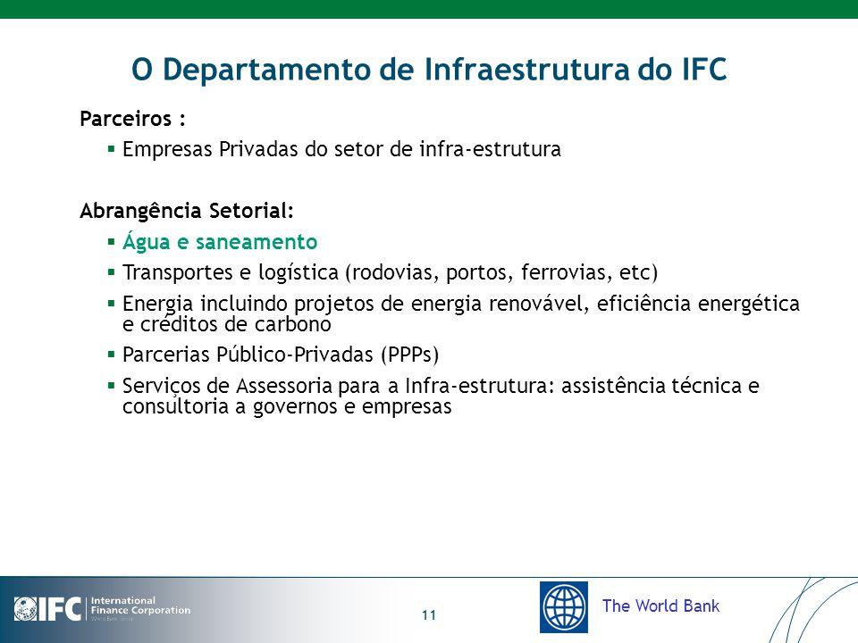 The World Bank 11 O Departamento de Infraestrutura do IFC Parceiros :  Empresas Privadas do setor de infra-estrutura Abrangência Setorial:  Água e saneamento  Transportes e logística (rodovias, portos, ferrovias, etc)  Energia incluindo projetos de energia renovável, eficiência energética e créditos de carbono  Parcerias Público-Privadas (PPPs)  Serviços de Assessoria para a Infra-estrutura: assistência técnica e consultoria a governos e empresas