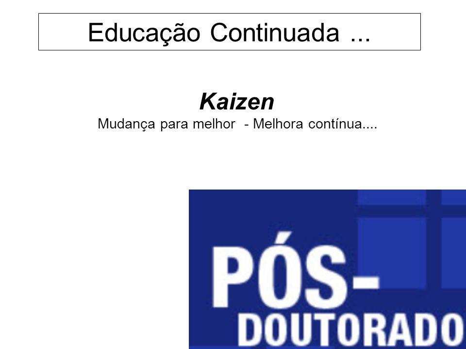 Educação Continuada... Kaizen Mudança para melhor - Melhora contínua....
