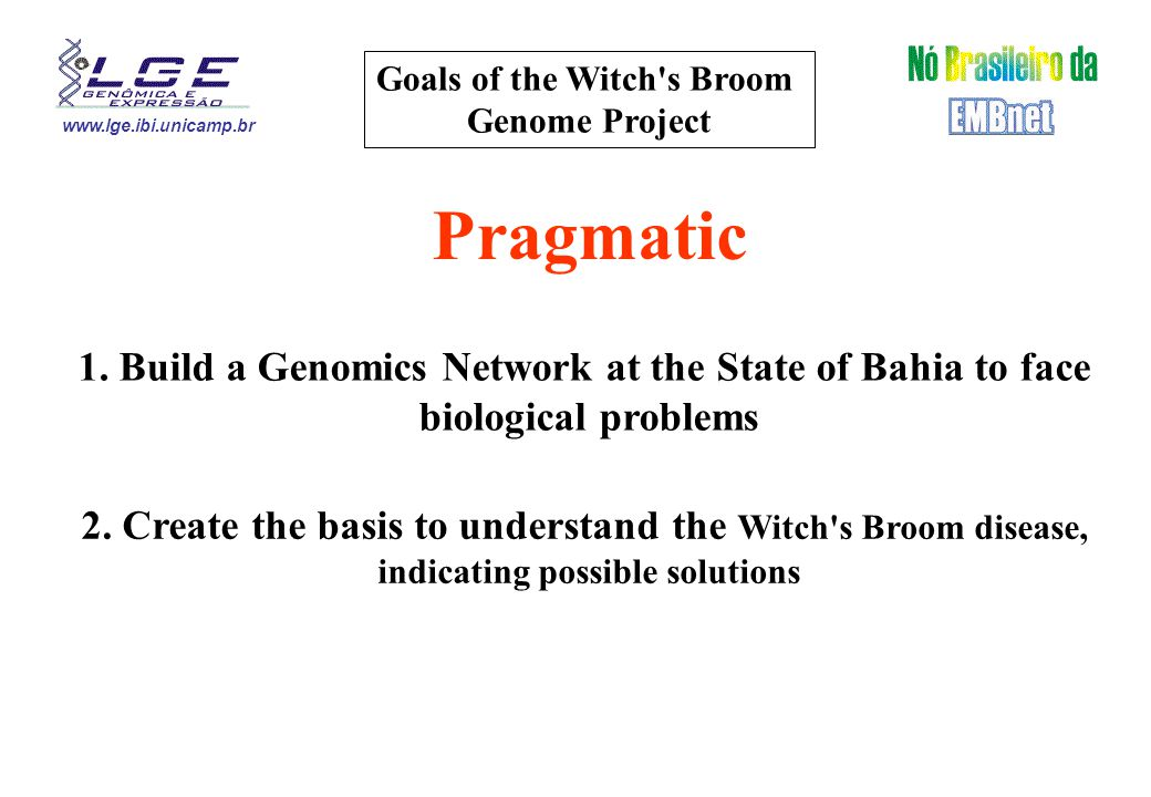 www.lge.ibi.unicamp.br Goals of the Witch's Broom Genome Project Pragmatic 2. Create the basis to understand the Witch's Broom disease, indicating pos
