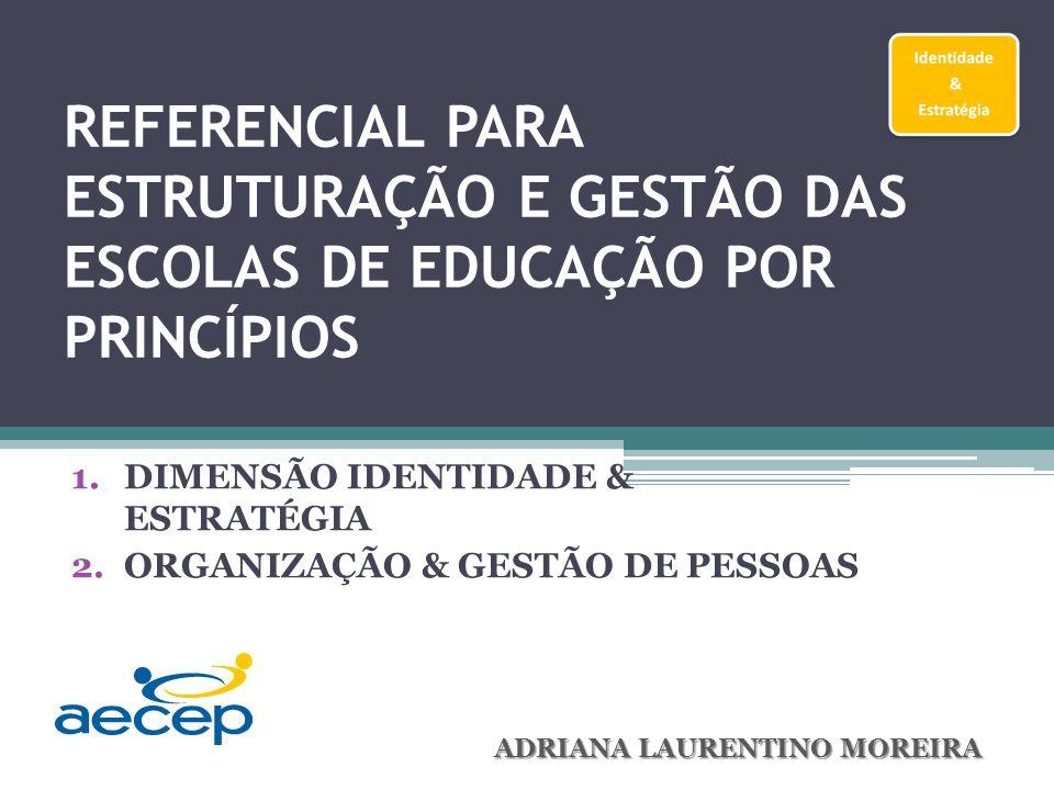 REFERENCIAL PARA ESTRUTURAÇÃO E GESTÃO DAS ESCOLAS DE EDUCAÇÃO POR PRINCÍPIOS 1.DIMENSÃO IDENTIDADE & ESTRATÉGIA 2.ORGANIZAÇÃO & GESTÃO DE PESSOAS ADRIANA LAURENTINO MOREIRA