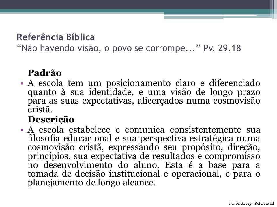 """Referência Bíblica """"Não havendo visão, o povo se corrompe..."""" Pv. 29.18 Padrão A escola tem um posicionamento claro e diferenciado quanto à sua identi"""