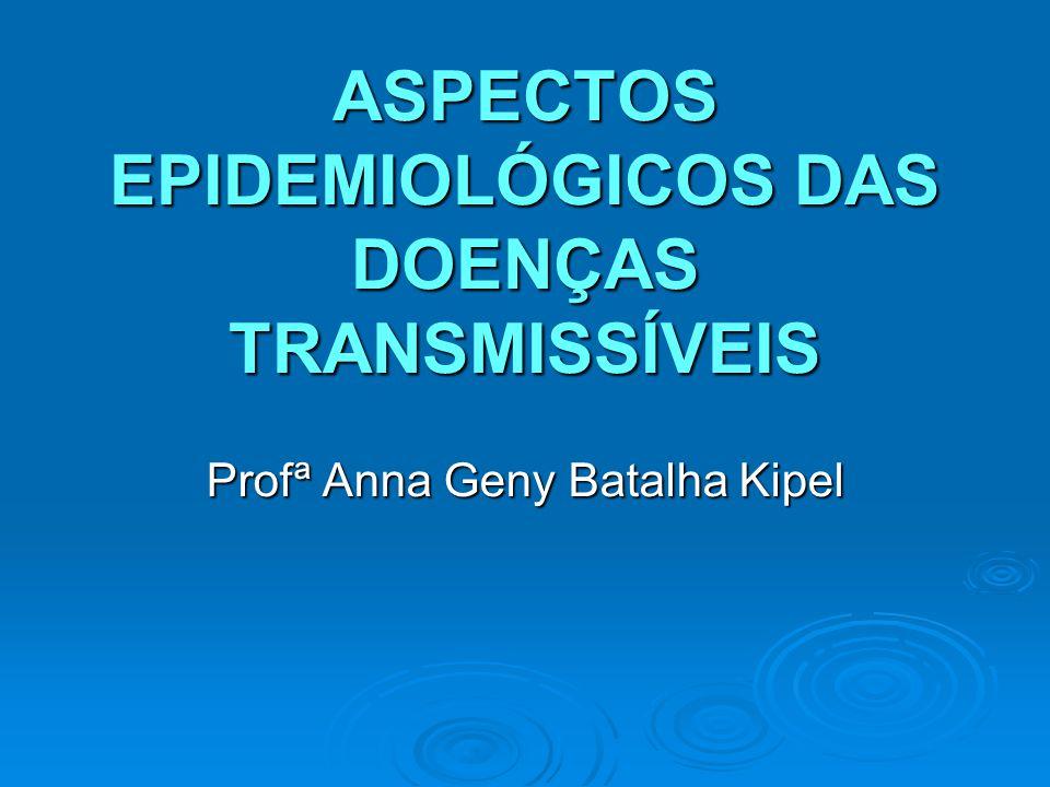 ASPECTOS EPIDEMIOLÓGICOS DAS DOENÇAS TRANSMISSÍVEIS Profª Anna Geny Batalha Kipel