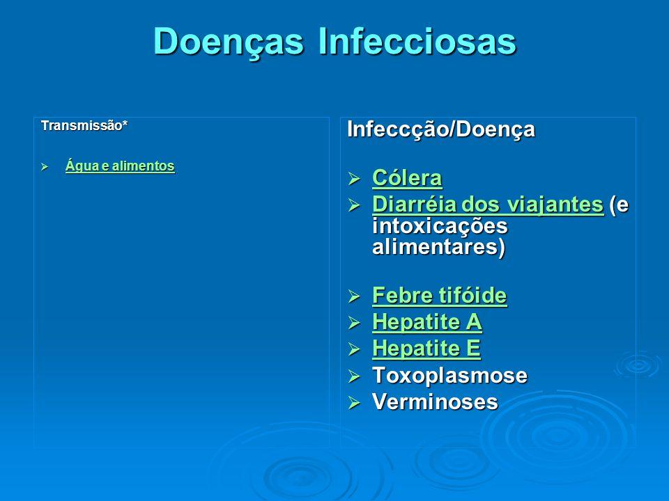 Doenças Infecciosas Doenças Infecciosas Transmissão*  Água e alimentos Água e alimentos Água e alimentosInfeccção/Doença  Cólera Cólera  Diarréia dos viajantes (e intoxicações alimentares) Diarréia dos viajantes Diarréia dos viajantes  Febre tifóide Febre tifóide Febre tifóide  Hepatite A Hepatite A Hepatite A  Hepatite E Hepatite E Hepatite E  Toxoplasmose  Verminoses