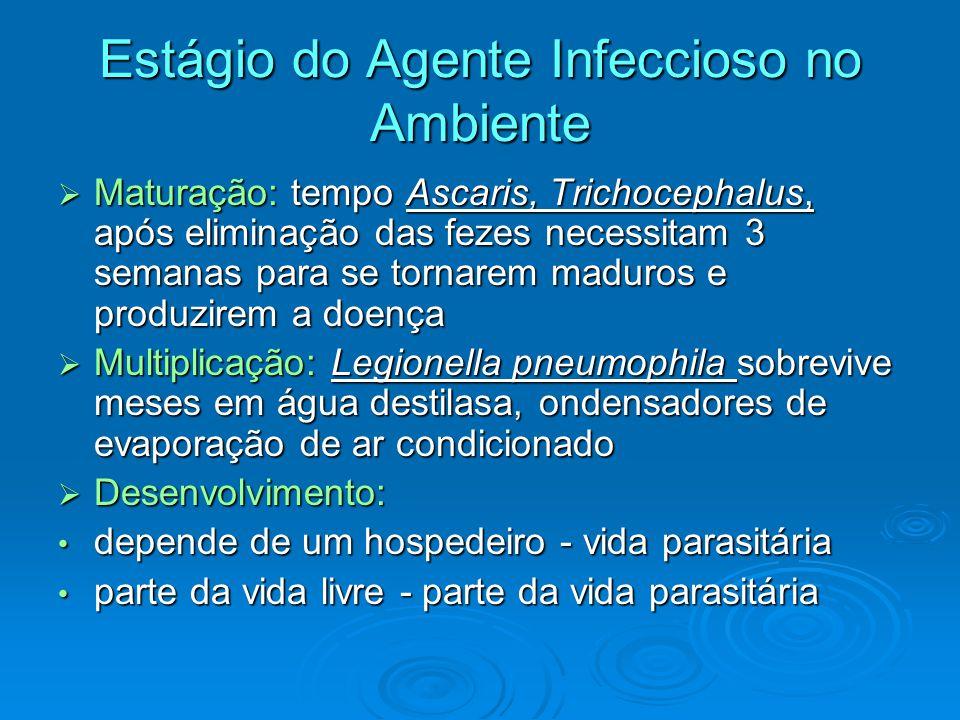 Estágio do Agente Infeccioso no Ambiente  Maturação: tempo Ascaris, Trichocephalus, após eliminação das fezes necessitam 3 semanas para se tornarem m