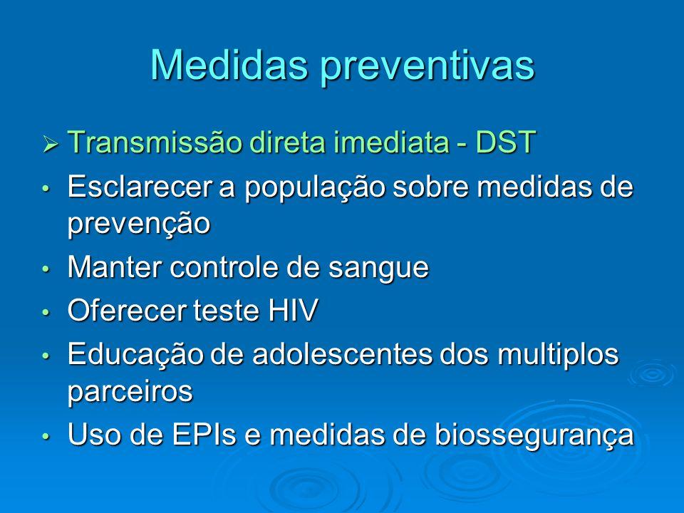 Medidas preventivas  Transmissão direta imediata - DST Esclarecer a população sobre medidas de prevenção Esclarecer a população sobre medidas de prev