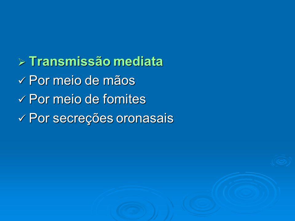  Transmissão mediata Por meio de mãos Por meio de mãos Por meio de fomites Por meio de fomites Por secreções oronasais Por secreções oronasais