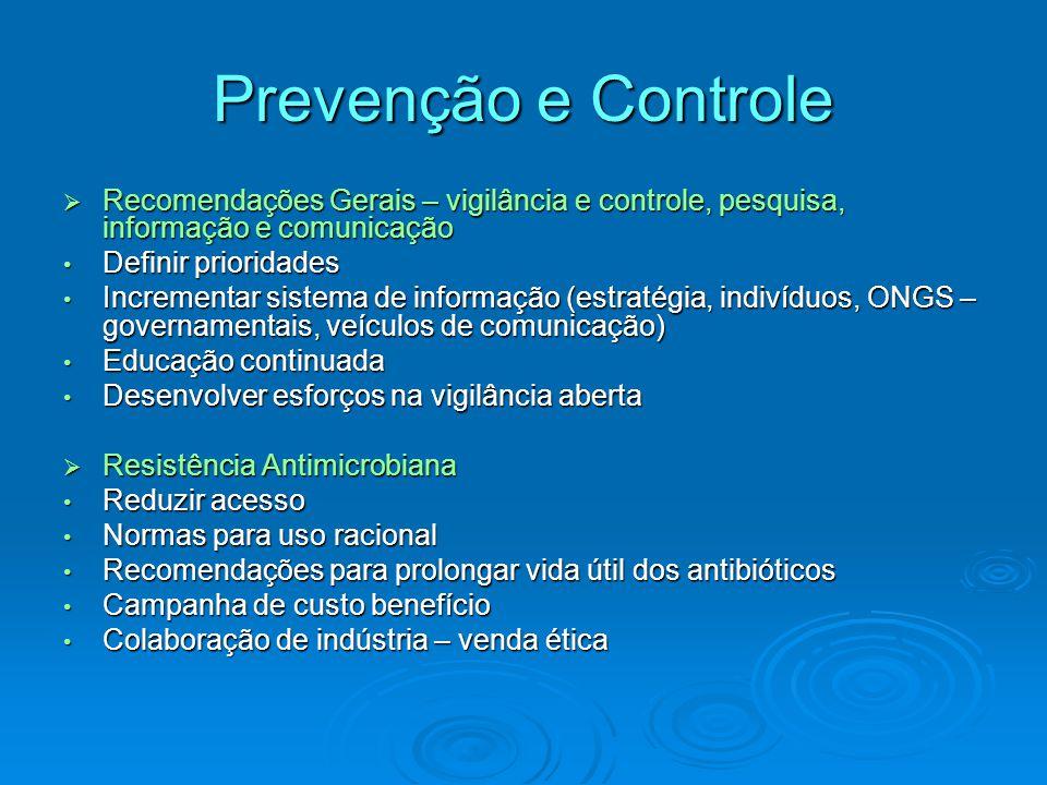 Prevenção e Controle  Recomendações Gerais – vigilância e controle, pesquisa, informação e comunicação Definir prioridades Definir prioridades Increm