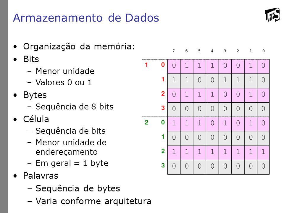 Armazenamento de Dados Organização da memória: Bits –Menor unidade –Valores 0 ou 1 Bytes –Sequência de 8 bits Célula –Sequência de bits –Menor unidade de endereçamento –Em geral = 1 byte Palavras –Sequência de bytes –Varia conforme arquitetura