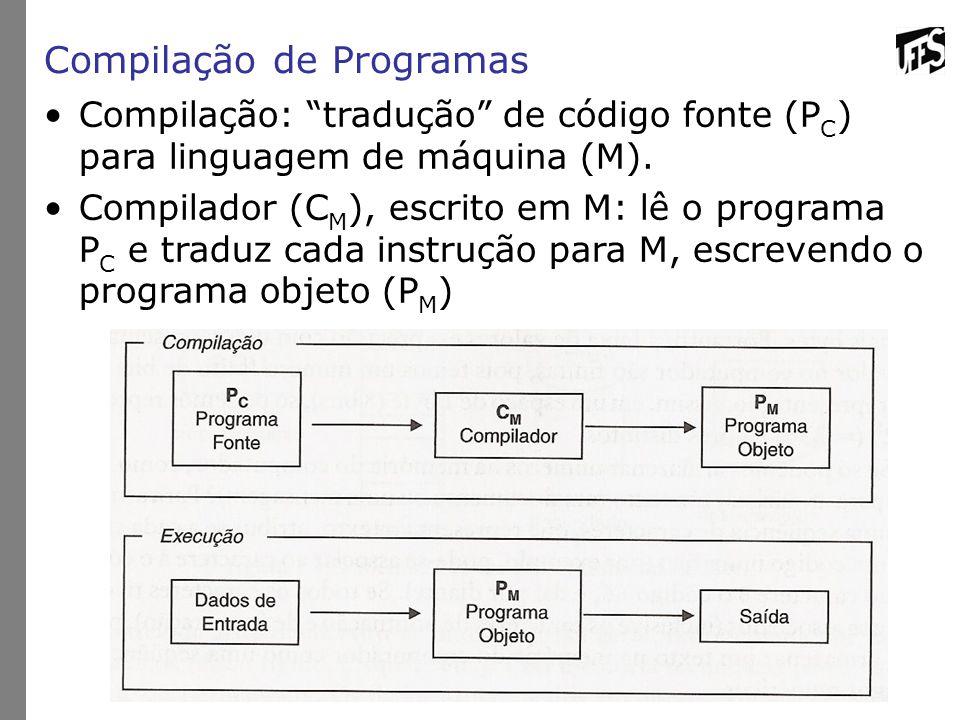 Compilação de Programas Compilação: tradução de código fonte (P C ) para linguagem de máquina (M).